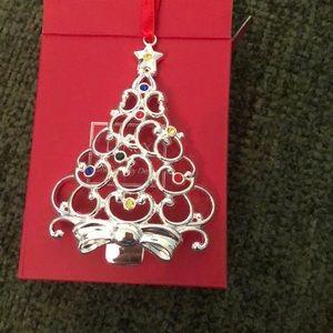 Lenox SPARKLE /& SCROLL SNOWFLAKE Christmas Ornament Silverplate Multi Crystal